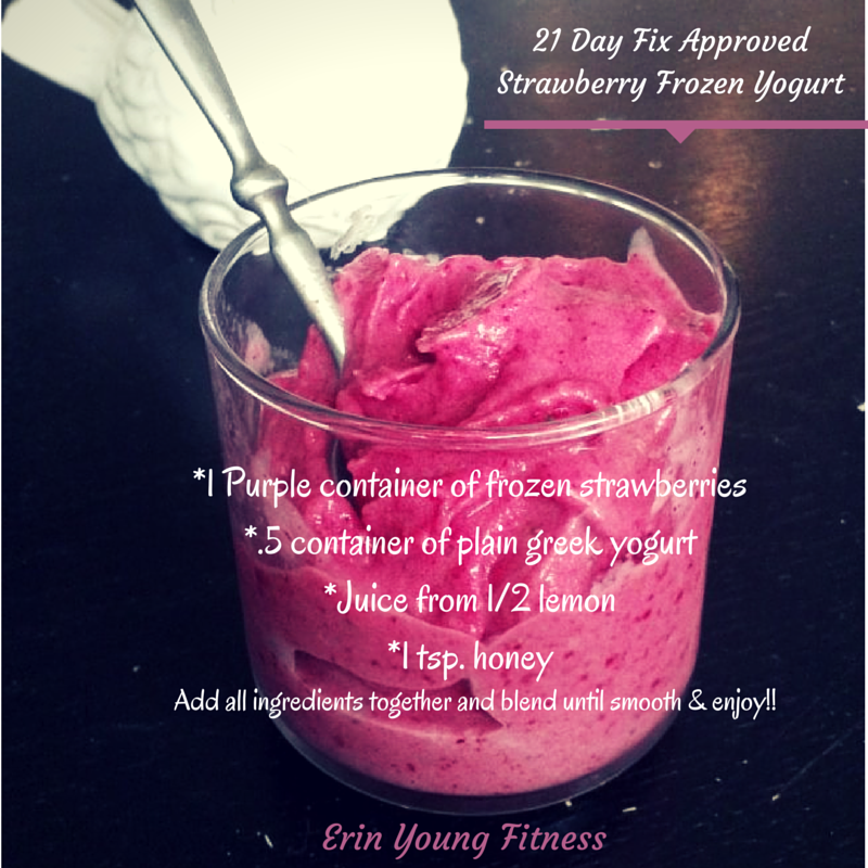 Slow Juicer Frozen Yogurt : 21 Day Fix Strawberry Frozen Yogurt-Erin Young Fitness