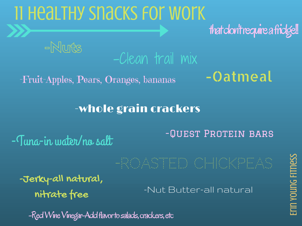 11 Healthy Work Snacks…that don't require a fridge!