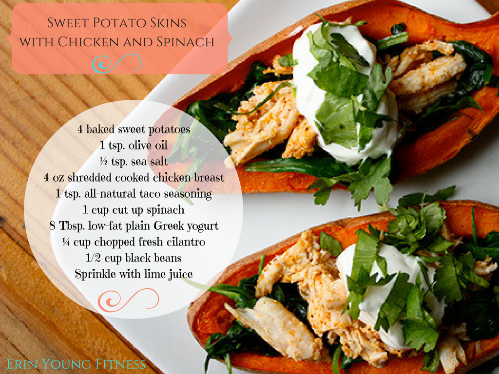 Sweet Potato Skins with Chicken and Spinach Recipe