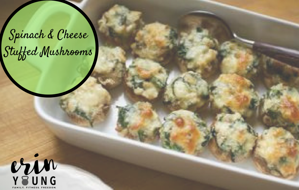 Healthy Spinach and Cheese Stuffed Mushrooms